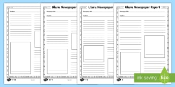 Uluru Newspaper Differentiated Writing Template - Ayers Rock, Australian landmark, Australian geography, writing, text type, informative text
