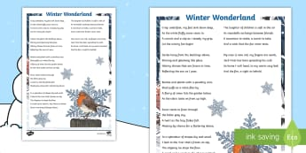 KS2 Winter Wonderland Poem - Christmas, Poem, Poetry, Alliteration, Personification, Metaphor, Simile, Holidays, Winter