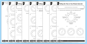 Telling the Time in Five-Minute Intervals Differentiated Worksheet / Activity Sheets - measurement, time, telling the time, analogue clocks, 5 minute intervals