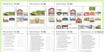 Places in Town Differentiated Reading Comprehension Activity French - KS3, French, Reading, Comprehensions,town, places, plan, restaurant, hotel, train station, park, cin