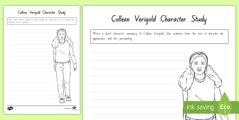 Term 1 Week 2 Year 5 and 6 Chapter Chat Character Study of Colleen Verigold Activity Sheet to Support Teaching On There's a Boy in the Girls' Bathroom by Louis Sachar - Reading, Class Book, Shared Reading, worksheet, fiction