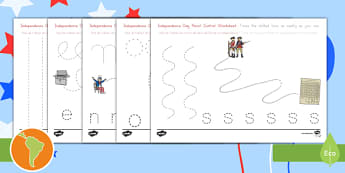 Independence Day Pencil Control Activity Sheets US English/Spanish (Latin) - Independence Day Pencil Control Worksheets - independence day, pencilcontrol, 4th july, activity she