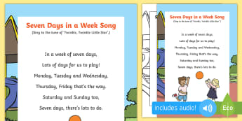Seven Days in a Week Song - EYFS, Early Years, KS1, Key Stage 1, Time, Days of the Week.