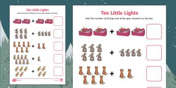 Ten Little Lights Addition to 10 Activity Sheet - Twinkl Originals, Fiction, Christmas, Winter, Snow, Cold, worksheet, Maths, Number bonds to 10, KS1,