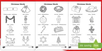 Christmas Words Colouring Pages English/German - EAL, German, Christmas Words Colouring Sheets - christmas, colouring, keywords, colering, chritmas,