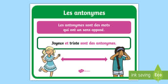 Affiche : Les antonymes - cycle 2, cycle 3, organisation de la classe, classroom organisation, poster, display, affiche, vocab