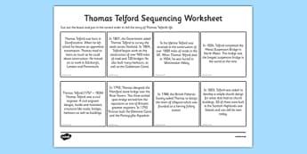 Scottish Significant Individuals Thomas Telford Sequencing Worksheet - engineer, bridges, roads, canals, construction, significant individual