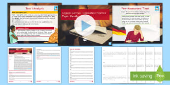 English to German Translation Practice on Family Lesson Pack - Translation Practice, AQA Criteria, GCSE German, Scaffolded Answers, Differentiated,German