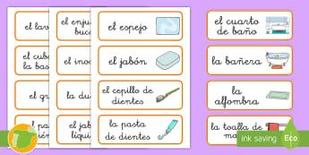Tarjetas de vocabulario: El baño - flashards, flascard, Baño, baños, bañar, bañarse, higiene, casa, casas, hogar, el hogar, en casa