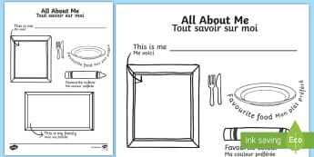 All About Me Colouring and Drawing Activity Sheet English/French - ourselves, worksheet, introduction, new start, colour, EAL translation