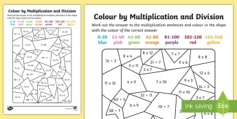 Colour by Multiplication and Division to 12 x 12 Worksheet / Activity Sheet - Colour by Multiplication to 12x12 Activity Worksheet - colour, multiplication, activity, worksheet,m