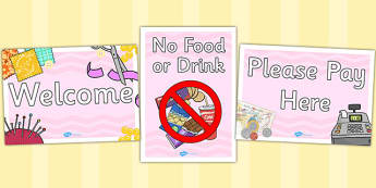 Haberdashery Role Play Signs - haberdashery, role-play, sign