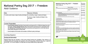 LKS2 National Poetry Day Adult Guidance - writing a poem, planning, poetry writing, y3, y4, Creative writingm,