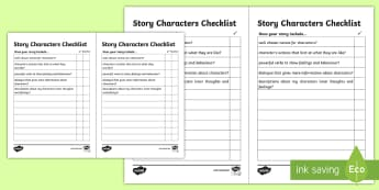 Story Characters Checklist - characters, character checklist, story characters, making a character, writing a character, designing a character, ks2 english