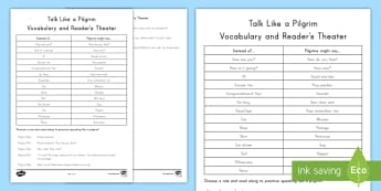 Talk Like a Pilgrim Vocabulary and Reader's Theater Activity - Role Play, Thanksgiving, Vocabulary, read to self, read with someone, daily five, speaking and liste