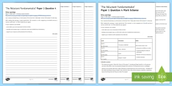 AQA Eng Lang P1 Q4 'The Reluctant Fundamentalist' Mini Exam Pack - AQA GCSE Specific Question Resources, structure, language, evaluation, Question 4, revision, The Rel