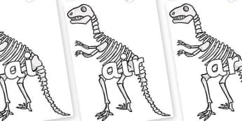 Phase 3 Phonemes on Dinosaur Skeletons - Phonemes, phoneme, Phase 3, Phase three, Foundation, Literacy, Letters and Sounds, DfES, display