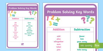 Problem Solving Key Words Display Poster - Prompts, Maths, Problem Solving, Hints, Strategies, key words.