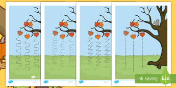 Autumn Tree Pencil Control Activity Sheets English/French   - fine motor skills, autumn tree, control, Worksheets, pencil control, activity sheet, EAL French
