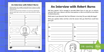 An Interview with Robert Burns Writing Activity Sheet - CfE, calendar events, Scotland, Scottish, traditions, history, celebrations, Burns, poetry, poet, ba