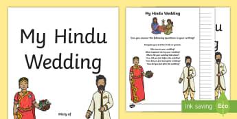 KS1 Hindu Wedding Diary Writing Frames - diary, account, recap, memory, relive