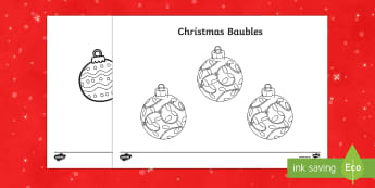 Christmas Baubles Colouring Pages