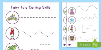 Fairy Tale Themed Cutting Skills Worksheet / Activity Sheet - Hand Eye coordination, Fine Motor Skills, Cutting, scissors, fairy tale unit