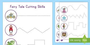 Fairy Tale Themed Cutting Skills Activity Sheet - Hand Eye coordination, Fine Motor Skills, Cutting, scissors, fairy tale unit