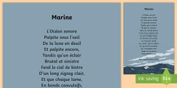 Poésie : Marine de Verlaine - La mer - poésie, poem, poème, la mer, sea, orage, storm, océan, vague, marine, verlaine, cycle 3, KS2,Fren