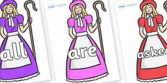 Tricky Words on Little Bo Peep - Tricky words, DfES Letters and Sounds, Letters and sounds, display, words