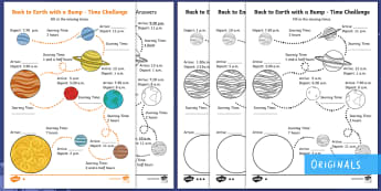 KS1 Back to Earth with a Bump Time Challenge Differentiated Activity Sheets - Back to Earth with a Bump, space, planets, night and day, dark, sun, Mars, moon, stories, picture bo