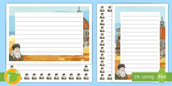 Pautas para escritura: Leonardo da Vinci - Renacimiento, Renaissance, inventor, inventions, científico, scientist, Escribir
