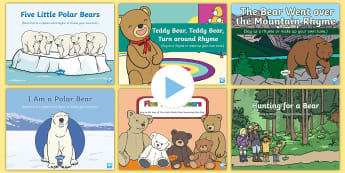 Bears Songs and Rhymes PowerPoints Pack - Bear, Polar Bear, Brown Bear, Grizzly Bear, Animals, teddy bear, teddies, singing, song time, bear h