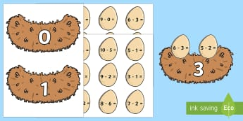 Eggs and Nest Themed Subtraction From 10 Activity - easter, maths