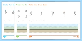 New Zealand Font Ground Grass Sky Letter Formation Activity Sheet Pack - New Zealand Handwriting Resources, lower case handwriting tasks, NZ font, handwriting guides, New En