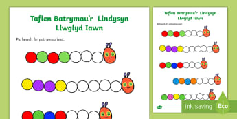 Taflen Liwio Patrymau'r Lindysyn Lwglyd Iawn - Patrymau, Lliwio, Lindysyn, Lwglyd, Iawn, Rhifedd, Repeating, Patterns, Numeracy, The, Very, Hungry,