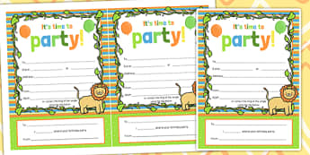 Jungle Themed Birthday Party Invitations - jungle, party, invite