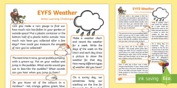 EYFS Weather Home Learning Challenges Reception FS2 - weather, home learning, homework, home school links, Early years, EYFS, Understanding of the World,