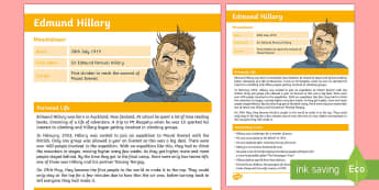 Edmund Hillary Fact File - - New Zealand Famous People, kiwis, celebrities, role models, famous people, New Zealand, adventurers,