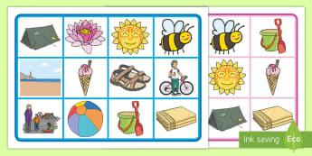 Strand Bingo/ Lotto Spiel - Sommer, Jahreszeiten, Bingo, Strand, Deutsch, Wörter, Kindergarten/Kl.1, summer, seasons, bingo, Ge