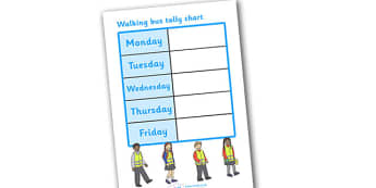 Walking Bus Tally Chart - tally chart, chart, walking bus, safety, safe walking, children, list, school safety