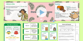 Germs and Diseases Resource Pack - Bug, Illness, Sick, Hygiene, Clean, Healthy, Well, doctors, Scottish