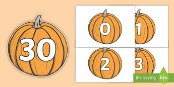 Numbers 0-30 on Pumpkins - Pumpkin, pumpkins, Foundation Numeracy, Number recognition, Number flashcards, 0-30, harvest, fruit