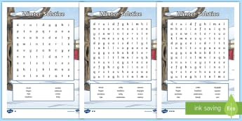 Winter Solstice Differentiated Word Search - Druid, pagan, sickle, tradition, literacy, priest, celebration, changes, seasons