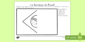 Ficha de actividad: La bandera de Brasil - carnaval, Brasil, carnavales, fiesta, fiestas, festival, Río de Janeiro, sudamérica, bandera, sime