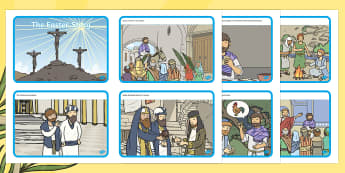 The Easter Story Sequencing Cards - Easter Sequencing, Easter Story, Foundation, KS1, Easter, Easter resource, Easter bible, Easter teaching resource, Easter Jesus, Easter Sunday, Easter, bible, egg, Jesus, cross, Easter Sunday, bunny, chocolate, hot