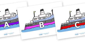 A-Z Alphabet on Boats - A-Z, A4, display, Alphabet frieze, Display letters, Letter posters, A-Z letters, Alphabet flashcards