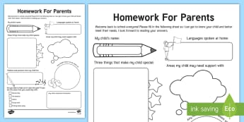 Homework for Parents Activity Sheet - back to school, getting to know, new zealand, activity sheet, parents, homework, worksheet