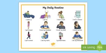 Sous-main : Ma routine quotidienne - Anglais LV - Langues Vivantes,English, Daily, Routine, Quotidien, Quotidienne, Cycle 3,French