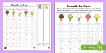 Favourite Ice Cream Data Activity Sheet - Australian Curriculum Statistics and Probability, maths, mathematics, Foundation, data representatio